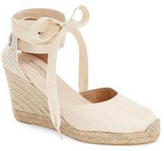Women's Soludos Wedge Lace-Up Espadrille Sandal, Size 7 M - Beige