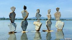 Stone balance in Hungary by tamas kanya Amazing arts. Stone Balancing, Stone Cairns, Rock Sculpture, Rock Design, Environmental Art, Pebble Art, Stone Art, Rock Art, Art Forms