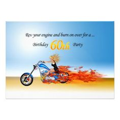 60th Birthday Flaming Motorcycle Invitation Funny Party