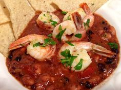 Spicy Black Bean Soup with Limey Shrimp Black Bean Soup, Black Beans, Beans And Sausage, Shrimp Creole, Grits, Cheddar, Thai Red Curry, Amy, Spicy