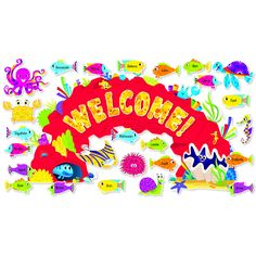 Greet students and visitors to your classroom with this bright, colorful bulletin board set. Spell out WELCOME! or write another message of your choice. Includes ocean creatures and a variety of write