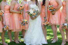 Coral wedding colors and bridesmaids by Chico Wedding Photographer TréCreative Film&Photo http://trecreative.com/