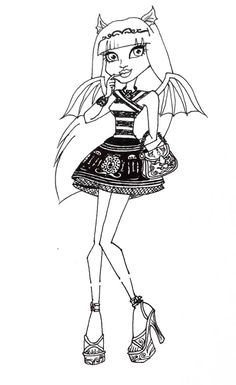 monster high rochelle gregory goyle bite finger coloring page