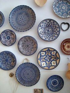 The beautiful blues of Moroccan pottery, via goodbreadandlinen. - The beautiful blues of Moroccan pottery, via goodbreadandlinen…would love to do a wall in the Kit - Teller An Der Wand, Ceramic Plates, Decorative Plates, Morrocan Decor, Moroccan Plates, Moroccan Bathroom, Moroccan Lanterns, Moroccan Wall Art, Moroccan Kitchen