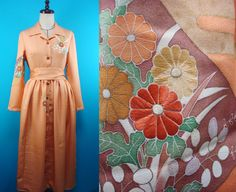 Shirt collar kimono dress - used kimono of vintage - orange color - size 8 by PriscillaTokyo on Etsy