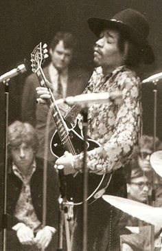 Jimi and a Gibson Les Paul. BLACK