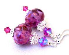 Fuchsia lampwork earrings, fuchsia Swarovski crystal earrings, sterling silver