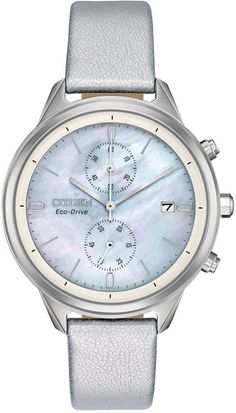 From the Citizen Eco-Drive Collection, the Chandler watch is perfect for everyday wear. Designed with a silver vegan leather strap, this classic watch features a stainless steel case. The white mother of pearl dial features a date window and a Citizen Eco, Grey Leather, Stainless Steel Case, Lady, Chronograph, Vegan Leather, Watches For Men, Ladies Watches, Citizen Watches