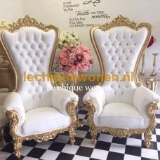 Barok King Chair Bridal Chairs Gold Creme