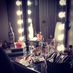 My new vanity table and DIY mirror with lights! #vanity #lightedmirror #mirror #mirrored #lights