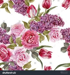 Floral seamless pattern with watercolor lilac, tulips and roses