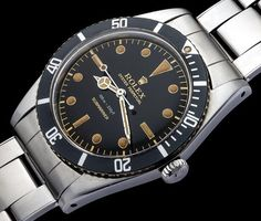 """""""Astonishing Rolex """"James Bond"""" Submariner ref. 5508. Superlative chapter ring gilt, dial featuring """"100 m = 330 ft , Submariner"""". Made in: 1957 Case…"""""""
