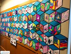 Cube Mural Inspired by Street Artist Thank YouX - Art Education ideas Group Art Projects, Classroom Art Projects, Art Classroom, Collaborative Art Projects For Kids, Collaborative Mural, Math Classroom Decorations, Cool Art Projects, Clay Projects, Cube Mural