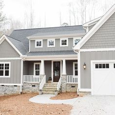 Solutions to Grey Exterior House Colors - sitihome Best Exterior House Paint, Grey Exterior, Exterior Siding, Building Exterior, Grey Siding House, Exterior Stairs, Craftsman Exterior, Exterior Remodel, Exterior Paint Color Combinations