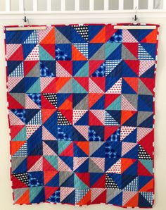 a modern quilt for a little boy