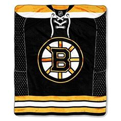 Black Yellow NHL Bruins Jersey Throw Blanket Plush Soft Warm Colorful Sports Themed Ice Hockey Jersey Pattern Bedding Fan Merchandise Favorite Team