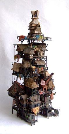 Fisherman's village van Eric Cremers |  Dit werk verbeeldt een Asiatisch vissersdorp dat op/in het water gebouwd is.