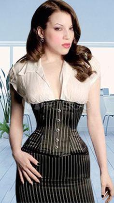 New Victorian Steampunk Corsets for Sale - Sexy Black And White Stripes Corset $29.99 #steampunk #corset