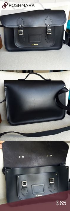 "Dr. Martens Cambridge Satchel Original 15"" Dr. Martens Cambridge satchel. This edition with top handle is rare and hard to find.  Used with light scratches. But still in good condition. 15"" wide. 10"" height. 4"" thick. Dr. Martens Bags Satchels"