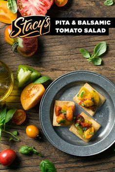 Pita & Balsamic Tomato Salad by James Award-winning chef Hugh Acheson. We're going back to Cali flavors with this simple and delicious recipe. Just five ingredients and one bag of Stacy's® Simply Naked® Pita Chips.
