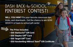 "Dash Back-to-School Pinterest Contest! Win $200 in gift certificates! 1. Follow Handwriting Without Tears 2. Create a board called ""Handwriting Without Tears Dash Back to School Contest."" Pin all your favorite teaching tips, tricks, etc. 4. Submit your board by Oct 14! Have fun! #pinterestcompetition"