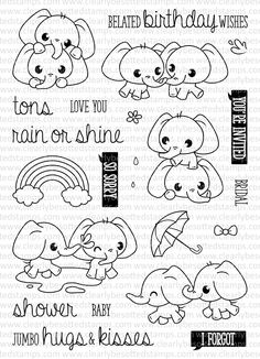 This is a inch clear stamp set. Doodle Drawings, Cartoon Drawings, Cute Drawings, Stencil, Belated Birthday Wishes, Animal Doodles, Colouring Pages, Digital Stamps, Clear Stamps
