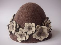 Sauna hat with Flowers for Women in natural color
