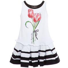White Jersey Dress with Diamante Tulip, Laura Biagiotti Dolls, Girl