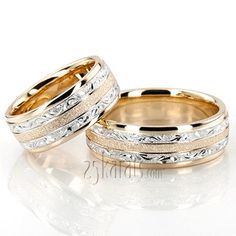 Exclusive Floral Design Wedding Band Set; His and Hers set together ~ 1300