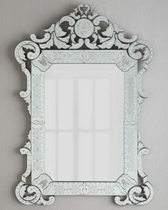 """""""Margaux"""" Mirror by Pt Romi Violeta at Neiman Marcus. For the hallway, along with blue and white stripped dhurries"""