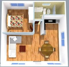 Flat housing 1 bedroom with sloping roof (can be one or two waters) d Small House Interior Design, Small Apartment Design, Home Room Design, Tiny House Design, Home Building Design, Home Design Plans, Studio Apartment Layout, House Construction Plan, Bungalow Interiors