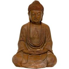 9 inch Japanese Sitting Zenjo-in Rust Patina Buddha Statue, Brown