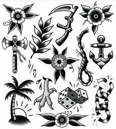 Traditional Tattoo Black And White, Traditional Tattoo Flowers, Traditional Tattoo Old School, Traditional Tattoo Design, Traditional Tattoo Flash, Neo Traditional, American Traditional, Neue Tattoos, Hand Tattoos