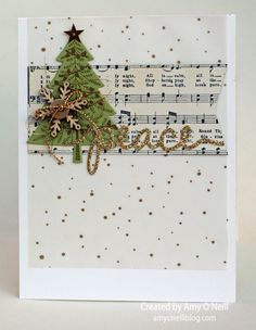 Stampin Up Peaceful Peace Pines. Tree/music background/snowflake & word. Do-able with other sets