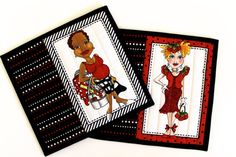 Quilted Mug Rug  Black White Red  Quilters Gift  Set by SallyManke