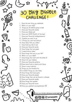 Doodle Challenge, Art Journal Challenge, 30 Day Drawing Challenge, Art Style Challenge, Writing Challenge, 30 Day Challenge, Challenge Ideas, Sketchbook Challenge, Disney Challenge