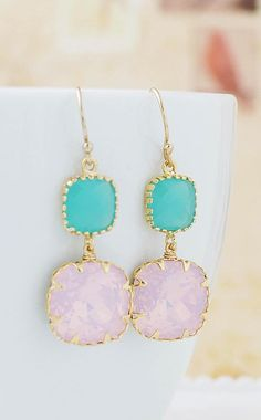 Mint and Pink Earrings from EarringsNation Mint + Pink Weddings, Mint Weddings, Pink Opal, Pink Weddings