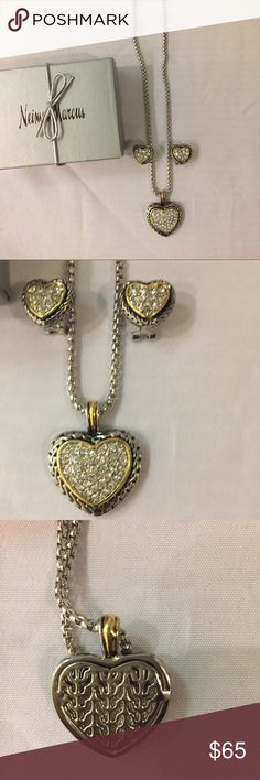 New Crystal Pave Heart necklace and earring set! Listing is for a beautiful crystal pave heart necklace with matching earrings. Received as a gift about a year ago just never wore it. It was bought At Neiman Marcus. HeArt center is crystals, heart trim is gold and the base is a  silver(see back) puff pendant and it has cut outs on back of heart. Clasp closure. Great deal for this set. Comes with box. Price firm item new✅ looks like a David Yurman set Frieda Jewelry