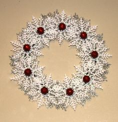 Christmas Snowflake Wreath, Silver and White Wreath, Snowflake Wreath, Holiday Decoration, Snowflake Decoration, Candy Cane Decor Want a