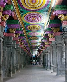 Inside the Meenakshi Temple in the holy city of Madurai in Tamil Nadu,