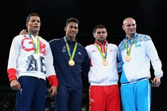 L-R) Silver medalist Joe Joyce of Great Britain, gold medalist Tony Victor James Yoka of France and bronze medalists Filip Hrgovic of Croatia and Ivan Dychko of Kazakhstan pose on the podium during the medal ceremony for the Men's Boxing Super Heavy (+91kg) on Day 16 of the Rio 2016 Olympic Games at Riocentro - Pavilion 6 on August 21, 2016 in Rio de Janeiro, Brazil.