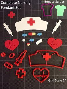 Nurse - Doctor Cookie Cutter / Fondant Cutter / Cupcake Topper - Nursing 8pc Set