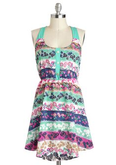 Garden Designer Dress - Multi, Floral, Buttons, Casual, Tank top (2 thick straps), A-line, Mid-length