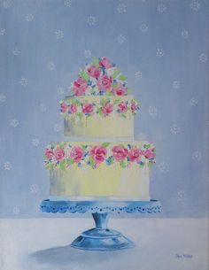 Wedding Cake Painting Birthday Cake Original Oil by CheriMillerArt New Birthday Cake, Birthday Parties, Birthday Wishes, Happy Birthday, Birthday Cards, Cake Pops Frosting, Birthday Cake Illustration, Cake Drawing, Cupcake Art