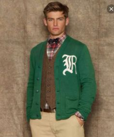 Ralph Lauren varsity cardigan & tweed vest