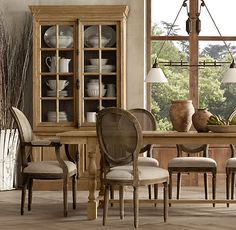 Decorate your dining room with this French Casement Sideboard & Hutch from Restoration Hardware. Crafted of solid oak and secured by traditional French hardware all of your precious pieces will be beautifully displayed. Click here to view more furniture from Restoration Hardware: http://www.restorationhardware.com