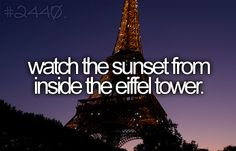 watch the sunset from inside the eiffel tower