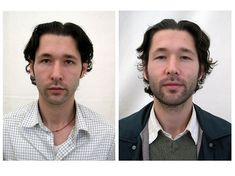 "Before and After Photos: A Month of Meditation. I'm not sure any of them look ""better"" just more relaxed or drunk;)"