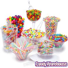 This Rainbow Candy Buffet Kit includes everything you need to create an awesome candy buffet for Valentine's Day, Mother's Day, Easter or Spring event and comes with reusable supplies. Buffet Kit Includes both containers and candy. Candy Buffet Tables, Candy Table, Buffet Ideas, Bulk Candy, Hard Candy, Candy Store, Festa Do Candy Crush, Anniversaire Candy Land, Rainbow Candy Buffet