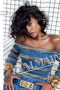 Rihanna Fronts Balmain Spring 2014 Campaign by Inez & Vinoodh blue and gold outfit
